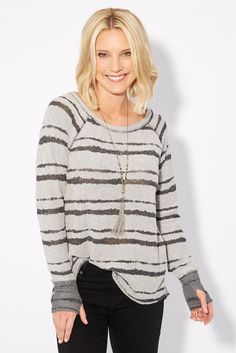 Burnout Stripe Pullover