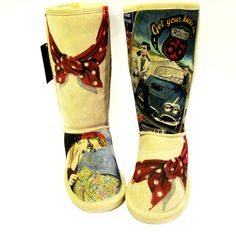 Boots Hand Painted BEARPAW Rockabilly by TheWoodsSecretGarden, $428.00