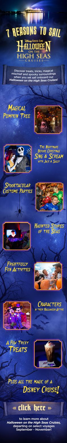 our Halloween-themed cruises are packed with costume parties, frighteningly fun… Disney Halloween Cruise, Disney Magic Cruise, Disney Fantasy Cruise, Halloween 2018, Disney World Vacation, Disney Vacations, Disney Trips, Cruise Travel, Cruise Vacation