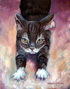 kitty stretches by Catherine Darling Hostetter
