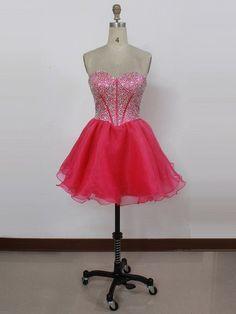 Sweetheart Pearl Detailing Short/Mini Lace-up Fuchsia Organza Prom Dress - dressesofgirl.com