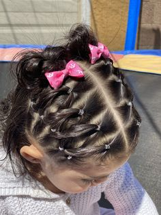 For today's video, I did Bella's hair in a cool zigzag way and it came out amazing plus it's super easy! I love how hair bows make such a differenc. Toddler Hair Dos, Easy Toddler Hairstyles, Easy Little Girl Hairstyles, Girls Hairdos, Cute Little Girl Hairstyles, Baby Girl Hairstyles, Princess Hairstyles, Cute Hairstyles, Baby Hair Dos