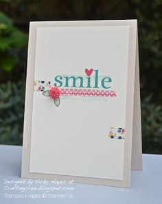 Washi tape helps put the focus on this fabulous 'smile' sentiment from Stampin' Up's Happy Day set