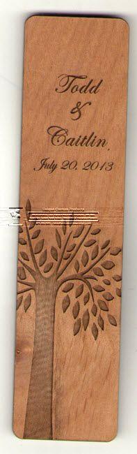 Engraved Alder Wood Bookmarks make wonderful wedding favors! Visit us to view more: http://woodinvitations.stampworldonline.com/category.aspx?