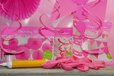 1 Pink pennant card bunting (4.5m). 9pc Decorations kit with pink honeycomb paper pom-poms, pinwheels, garland and coloured hanging card circles. | eBay!