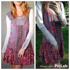 Free People rare Watercolor Memories dress S These are some extra pics, does have some tearing under both arms in crochet area. I showed biggest tear, much smaller tear under other arm. Can post more pics for anyone upon request.   the sweater/tunic under dress is not for sale, only dress Free People Dresses Asymmetrical