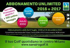 E' sempre il momento giusto per scegliere San Siro Golf! Abbonamento Unlimited 2016+2017, scopri la Promozione Golf riservata ai Neofiti e Famiglie!