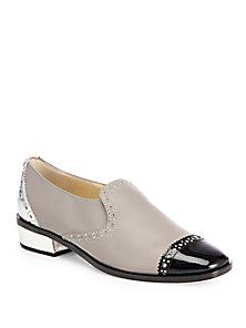 Jimmy Choo - West Leather Cap-Toe Slip-On Loafers