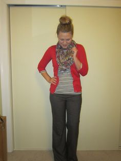 slacks, black and white striped tee, red cardigan, floral scarf, top knot, pattern mixing, work clothes, workwear, bright work outfit