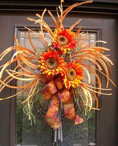 Fall Wreath Sunflower Wall Arrangement Harvest by LuxeWreaths