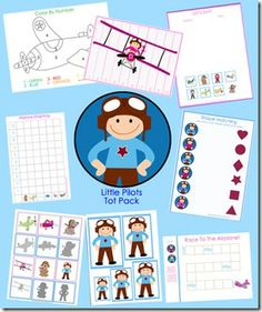 Tons of cute printable activities for little kids. I LOVE this pilot one. Actually might want to do a pilot birthday party out of it...