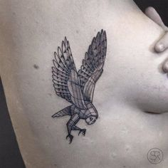 Little fineline barn owl tattoo on the right rib cage.