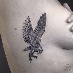 """cutelittletattoos: """"Little fineline barn owl tattoo on the right rib cage. Tattoo artist: Sven Rayen """""""