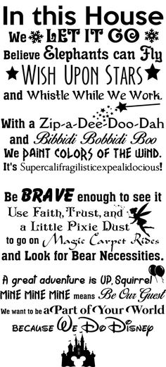 In this House We do Disney Wall Decal -Disney Wall Quotes-Wall Vinyl Decal-Wall Decor-Wall Art-Wall