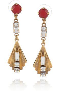 Gold-plated Swarovski crystal earrings  by Erickson Beamon