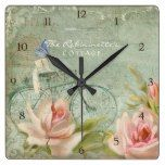 Summer at the Cottage Roses Bicycle Butterfly Bees Square Wallclocks  #Bees #Bicycle #Butterfly #Cottage #Roses #RusticClock #Square #Summer #Wallclocks The Rustic Clock