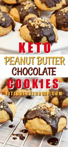 This delicious recipe for keto peanut butter coconut flour cookies uses coconut flour and cream cheese to give them the perfect crumb texture. Coconut Peanut Butter, Low Carb Peanut Butter, Chocolate Peanut Butter Cookies, Coconut Chocolate, Lemon Coconut, Keto Chocolate Fat Bomb, Low Carb Chocolate, Chocolate Recipes, Coconut Recipes