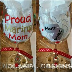 Military Mom Wine Glass Proud Mom Ladies Gift by NolaGirlDesign #army #Mom #wine #glass #etsy #marines #navy