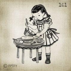 Adorable Vintage Girl Cooking LARGE Digital Vintage Image by ptfy, $2.00