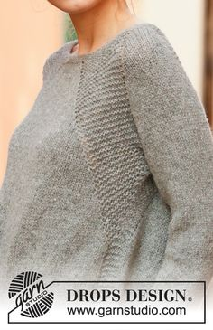 Knitted sweater with raglan in DROPS Sky. Piece is knitted top down in garter stitch and stockinette stitch. Size: S - XXXL Design tricot Stone Fields / DROPS - Free knitting patterns by DROPS Design Knitting Blogs, Sweater Knitting Patterns, Crochet Cardigan, Knitting Stitches, Knit Patterns, Free Knitting, Knit Crochet, Knitting Ideas, Drops Patterns
