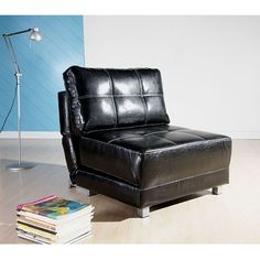 Modern convenience meets comfort with this well-designed black convertible chair bed. The New York black convertible chair bed can be used as a bed, chaise, or a chair. Perfect for small spaces this handy leather furniture features stable steel legs.