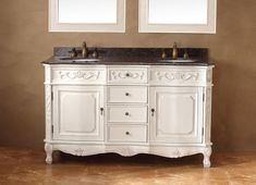 """Costa Blanca 60"""" Double Sink Bathroom Vanity Cabinet - White Finish - Shabby chic meets upscale class in the Costa Blanca collection. This vanity has incredible detail to keep your guests impressed. From the claw feet to the ornate woodwork, this piece offers the best of both worlds. With a white finish, your space transforms to a crisp, clean oasis. Relax in your spa-like space and enjoy the fresh white as it washes over you."""