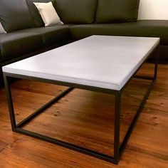 Concrete Coffee Table.Grey on Black.