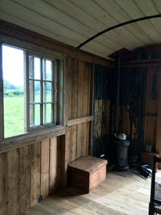 interior of the shepherds hut with a stunning sliding sash window . Restored shepherds hut for s Small Tiny House, Tiny House Design, Trailers, Shepherds Hut For Sale, Camping Pod, Garden Cabins, Caravan Renovation, Portable House, Sash Windows