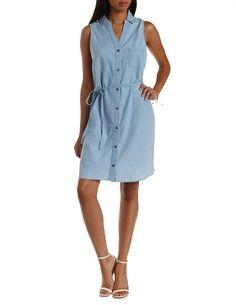 a06a5f4c2cdd Sleeveless Denim Denim Chambray Shirt Dress - Lt Wash Denim Button Down  Shirt Dress