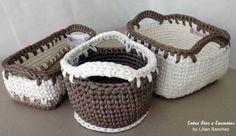 Cestos Organizadores Multiformas crochê fio de malha.  http://www.vitrine.elo7.com.br/entrefioseencantos