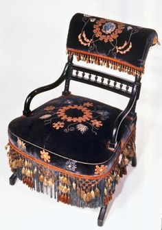 Armchair, Aesthetic Movement style with Moorish style embroidery(Rockefeller Room)  Medium: Unidentified ebonized wood, original velvet upholstery  Dates: ca. 1880