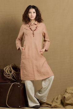 long linen tunic in pink / linen tunic dress / longsleeve winter blouse top…