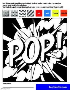 *Roy Lichtenstein Art History Workbook and Activities - Pop Art - No Prep Pop Art History Lesson – Interactive Coloring Sheets – Lichtenstein - Pop Art History, Art History Lessons, Art Lessons, Arte Pop, Middle School Art, Art School, Roy Lichtenstein Art, Art Doodle, Art Handouts