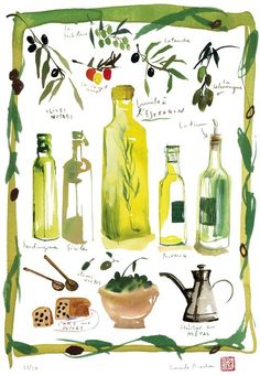 Kitchen illustration  Olives and olive oil  by lucileskitchen