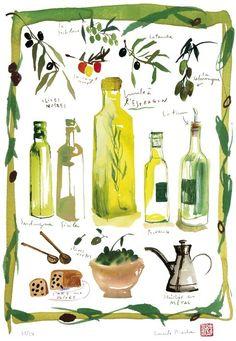 Kitchen illustration  Olives and olive oil  by lucileskitchen