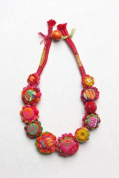 Floral textile necklace colorful crochet jewelry by rRradionica