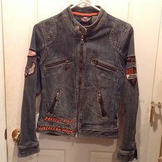 HD jean jacket Great shape. Authentic. Love it but too small :( Harley Davidson Jackets & Coats Jean Jackets