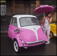 bmw wheeler author nell john Pink Bmw, Bmw Isetta, Cute Cars, Small Cars, Cool Photos, Classic Cars, Mini, Maltipoo, My Style