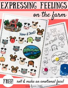 Practice making emotional faces with this Expressing Feelings farm-themed game… Social Emotional Activities, Emotions Activities, Social Emotional Development, Farm Activities, Toddler Activities, Emotional Kids, Teaching Emotions, Character Development, Therapy Activities