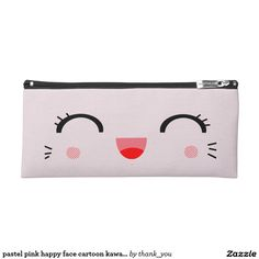 pastel pink happy face cartoon kawaii pencil case