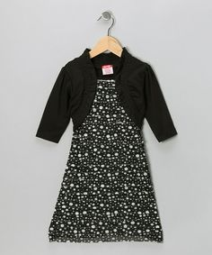 Take a look at this Black Polka Dot Layered Dress - Girls by S.W.A.K. on #zulily today!