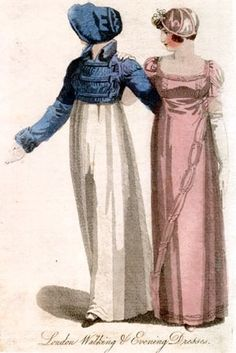 Lady's Magazine - March 1812. Walking Dress. A spencer of blue silk, with facings, collar, wings, and cuffs of plush to match. --A bonnet composed of silk and velvet, to agree in color with the spencer.--Feather, the same.    Evening Dress - An evening dress of pink silk, either flowered or plain, trimmed with crape of the same color, and ornamented with small white buttons.--Cap of velvet and lace, trimmed with footing and a flower.