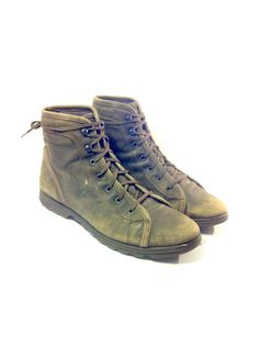 Olive Leather Combat Jungle Boots 10 - Grunge Green Roper Boots Mens 10.  $78.00,