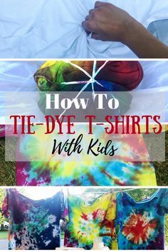 A DIY tutorial on how to tie-dye shirts with your kids! A simple craft for summer fun when the kids are out of school! We show you three different patterns that are easy for kids to do themselves and help them gain confidence in their work.