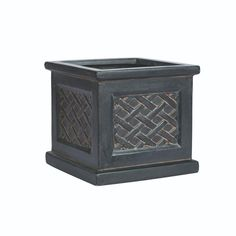 Home Decorators Collection Lattice 11 in. Square Aged Charcoal Clay Planter-9432020270 - The Home Depot