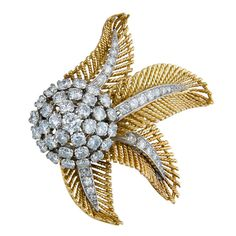 BOUCHERON BROOCHES | BOUCHERON Diamond and Gold Clip Brooch at 1stdibs