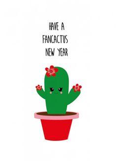 ♥ Studio Inktvis wenskaart Have a fancactus new year ♥ Snel geleverd ♥ Achteraf betalen Cactus Pun, Cactus Craft, Cactus Decor, Cactus Facts, Cactus Cartoon, Cactus Quotes, Christmas Quotes, Christmas Puns, School Decorations
