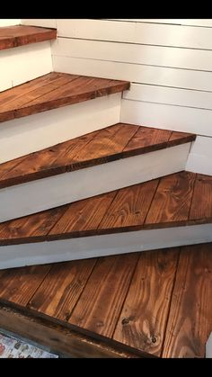 Turn those basement stairs in beautiful stained wood treads on white background.