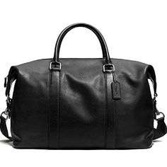 Coach Explorer Signature Leather Black Duffel Tote Shoulder Overnight Bag