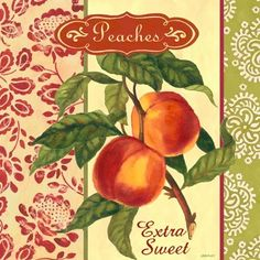 Peaches (Jennifer Brinley) Vintage Labels, Vintage Cards, Vintage Paper, Vintage Posters, Sweet Peach, Kitchen Wall Art, Journal Cards, Rock Art, Food Pictures